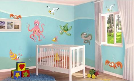 Camerette per bambini a tema mare leostickers - Decorazioni murali camerette bambini ...